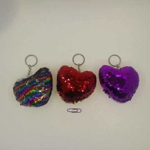 Sequins Heart Key Ring 11cm