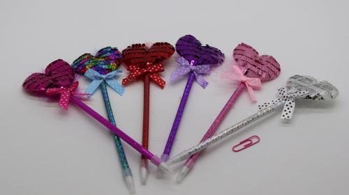 Pen Sequin Heart 6cl
