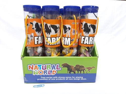 Plastic Farm Animals in Tube 12pc